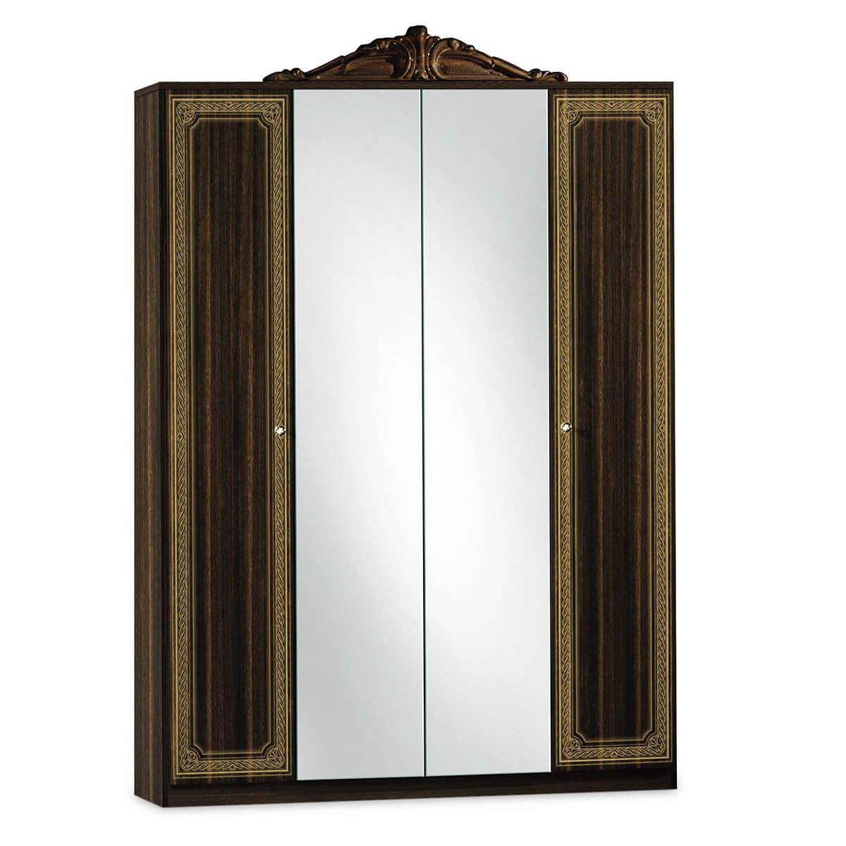 Altobuy LORALIE - Armoire 4 Portes avec Penderie et Miroir