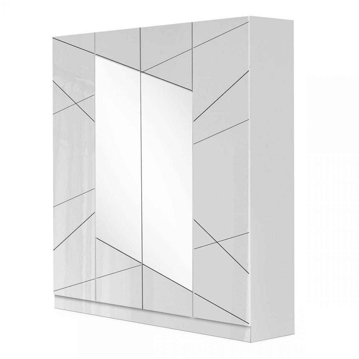 Altobuy MOZAYIK BLANCHE - Armoire 4 Portes avec Miroir Central