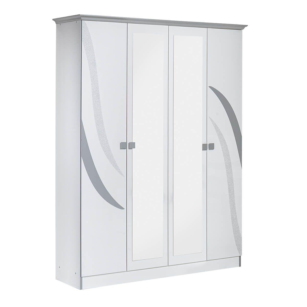 Altobuy SAVERIA BLANCHE - Armoire 4 Portes avec Miroir Central