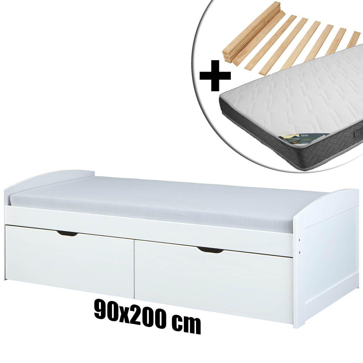 Altobuy SYDNEY - Pack Lit 90x200 2 Tiroirs + Sommier + Matelas Java