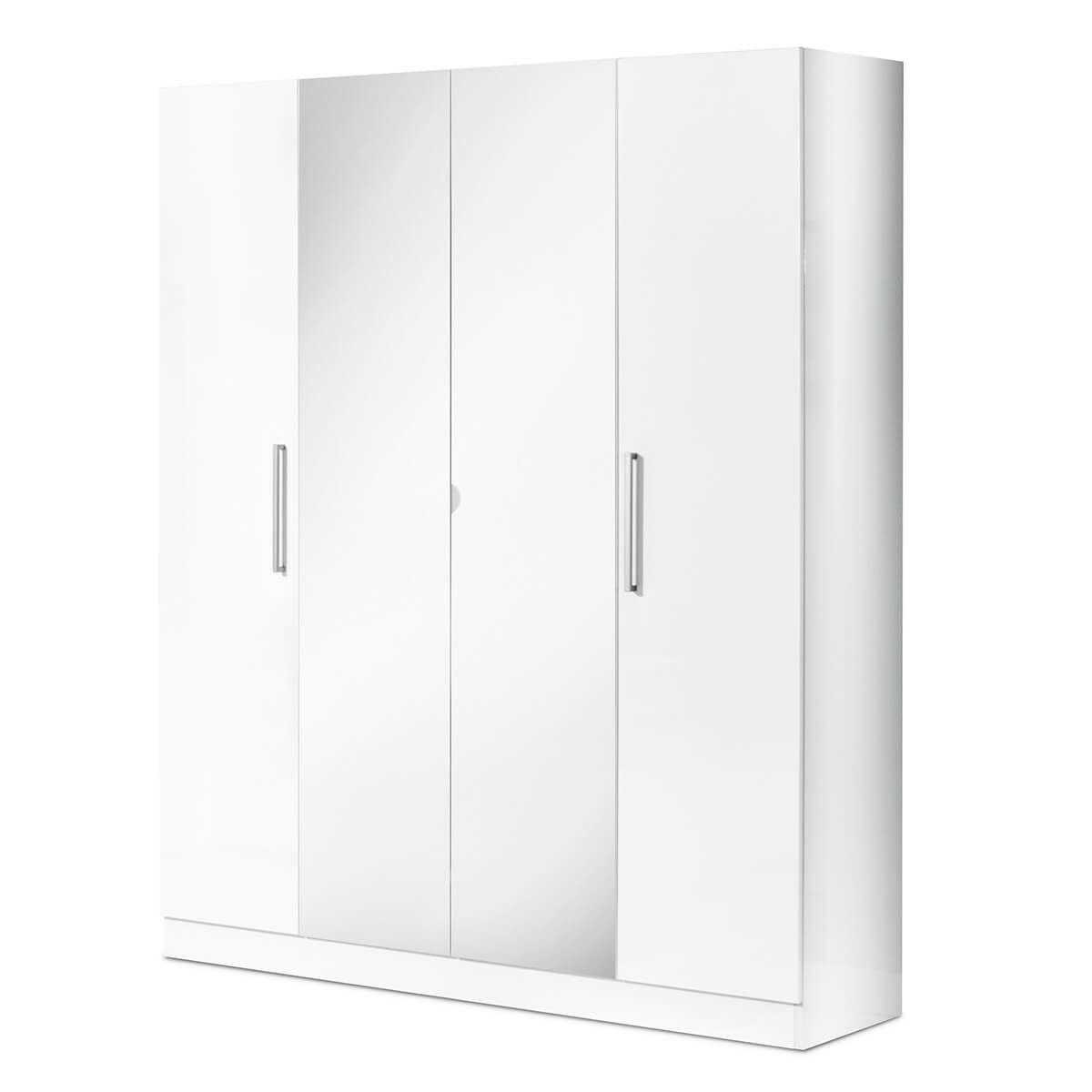 Altobuy VINIA BLANCHE - Armoire 4 Portes avec Miroir Central
