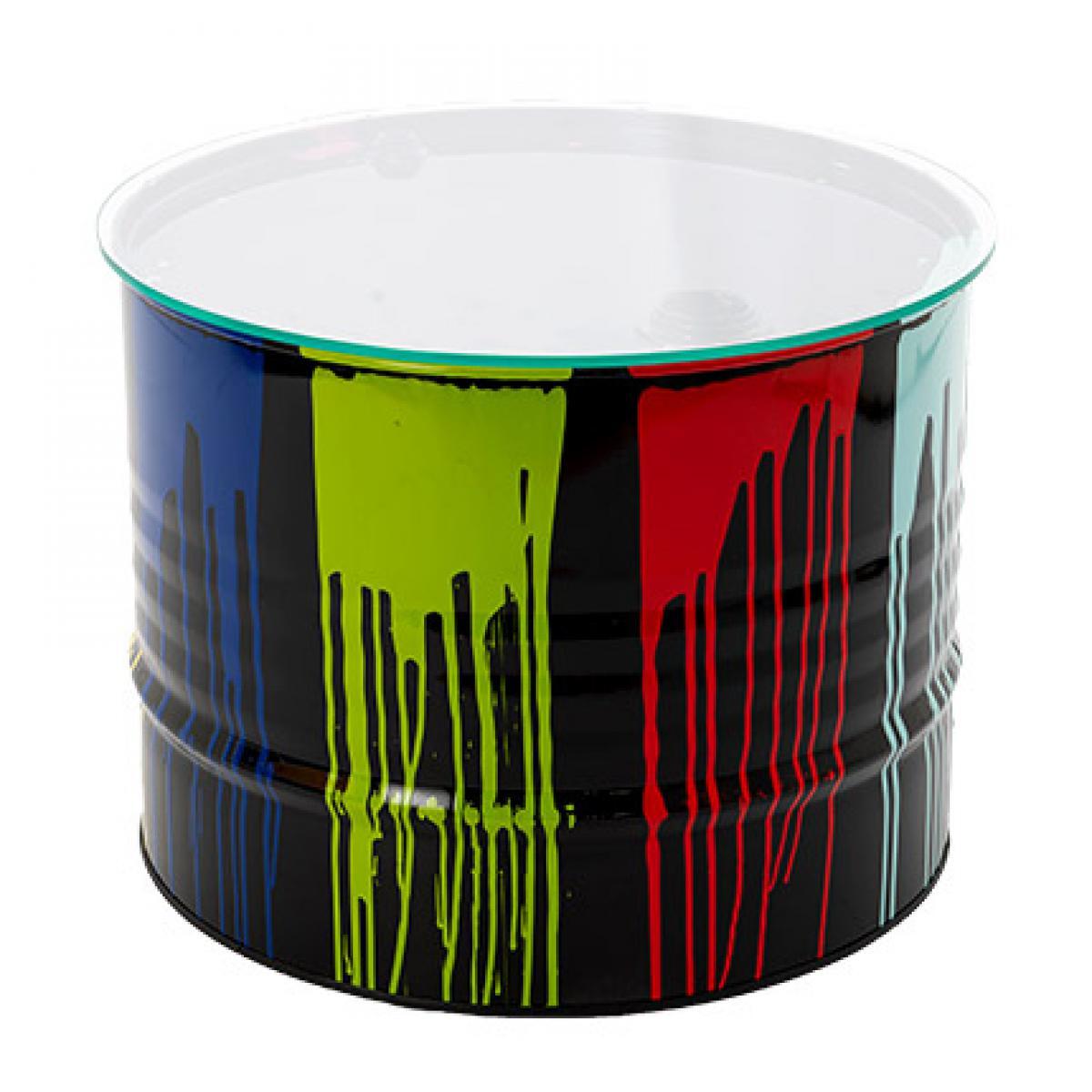 Amadeus Table basse tonneau en verre et métal multicolore - TONNO