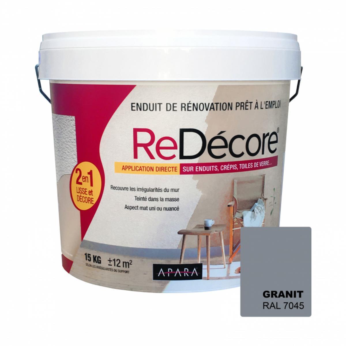 Apara Enduit décoratif, rénovation rapide, 2 en 1, lisse et décore sur plâtre, peintures, crépis, fibres, toile de verre-10 x