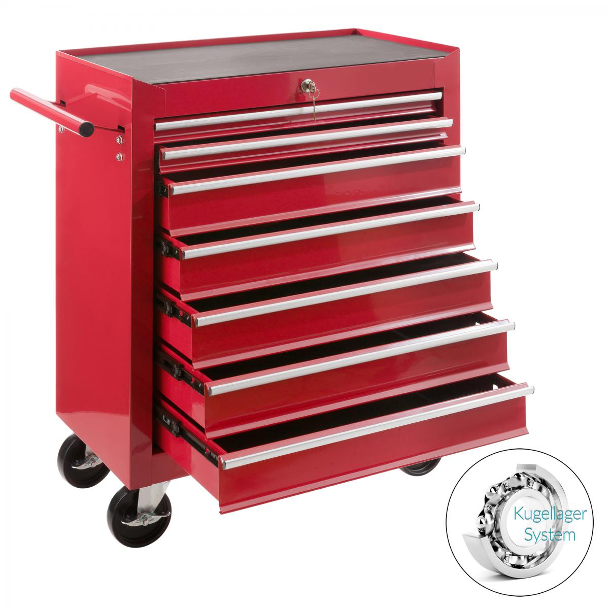 Arebos AREBOS Servante Caisse à Outils D?Atelier 7 Tiroirs Tools Chest Chariot Rouge