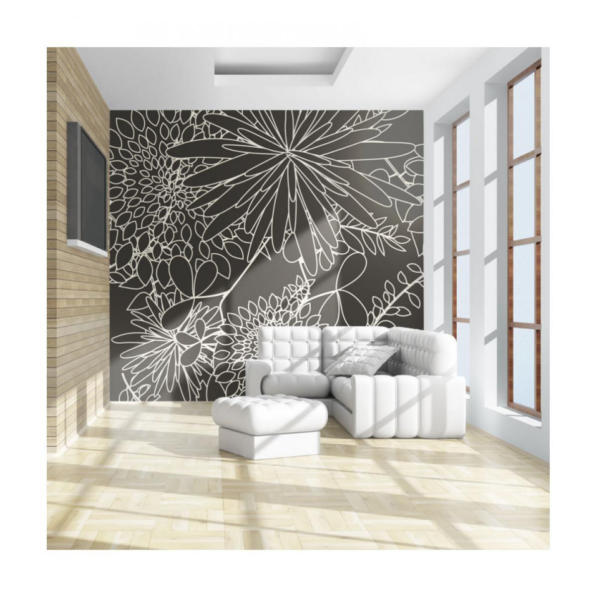Artgeist Papier peint - Motif floral noir et blanc 350x270