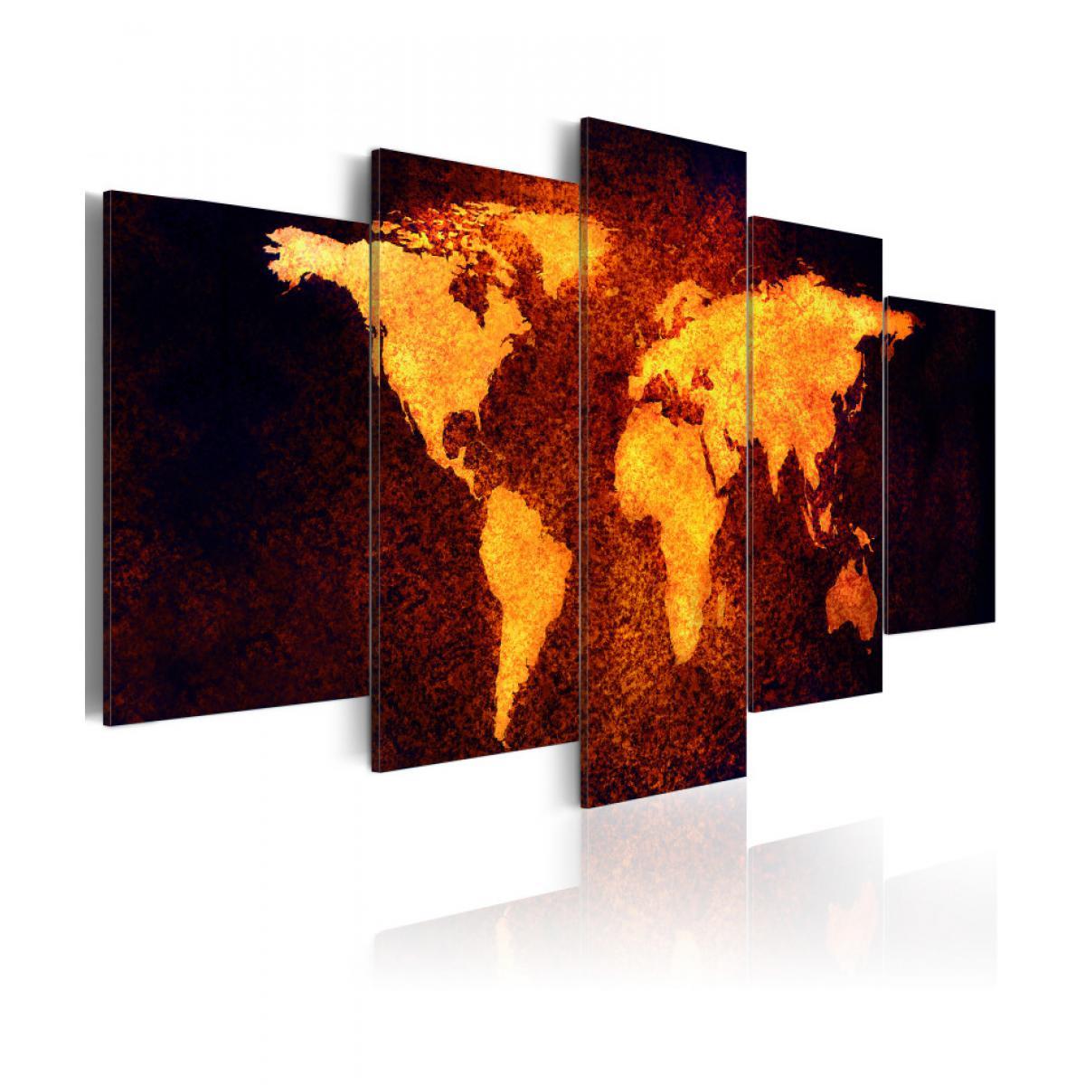 Artgeist Tableau - Carte du monde - Lave chaude 100x50