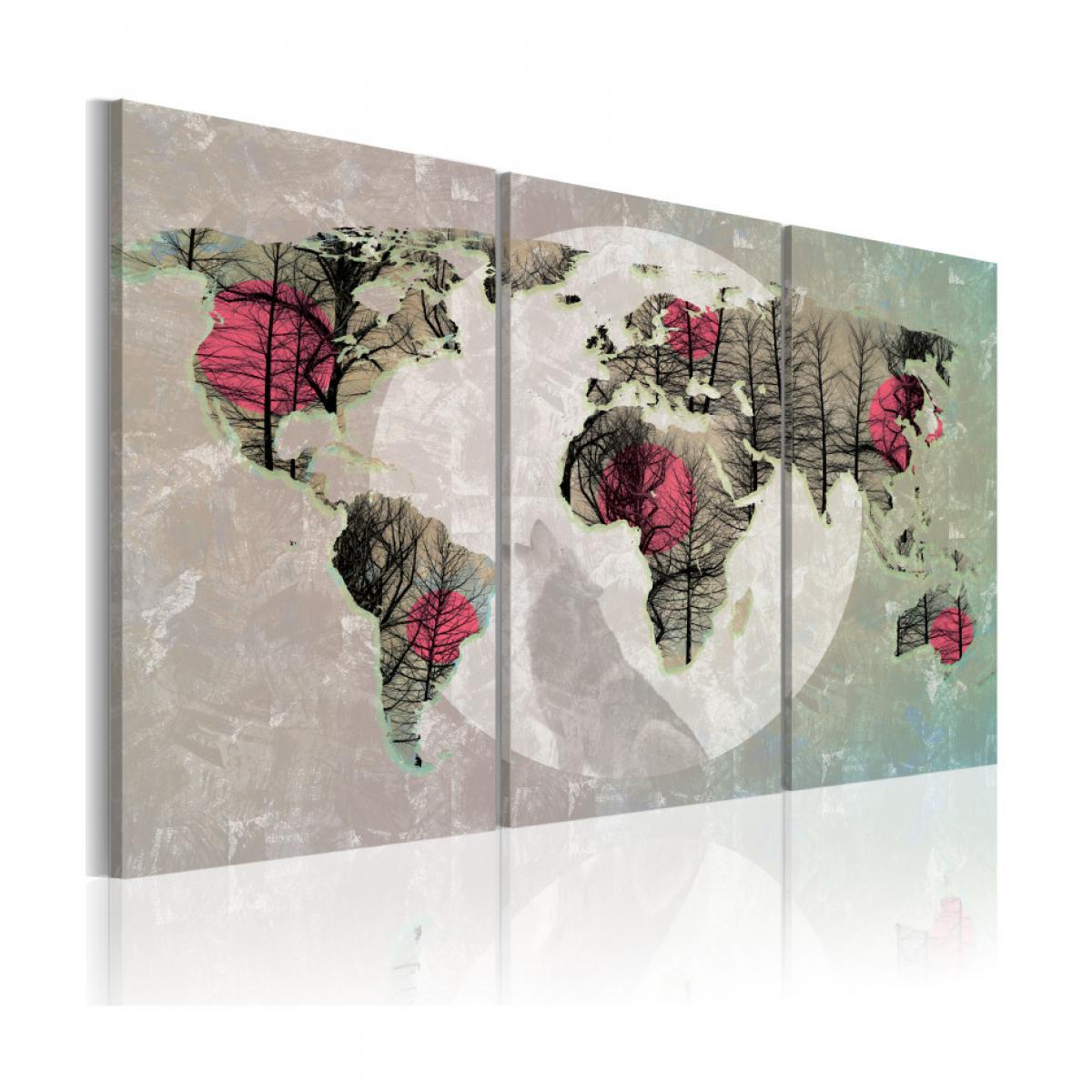 Artgeist Tableau - Carte du Monde: Pleine lune - triptyque 60x40