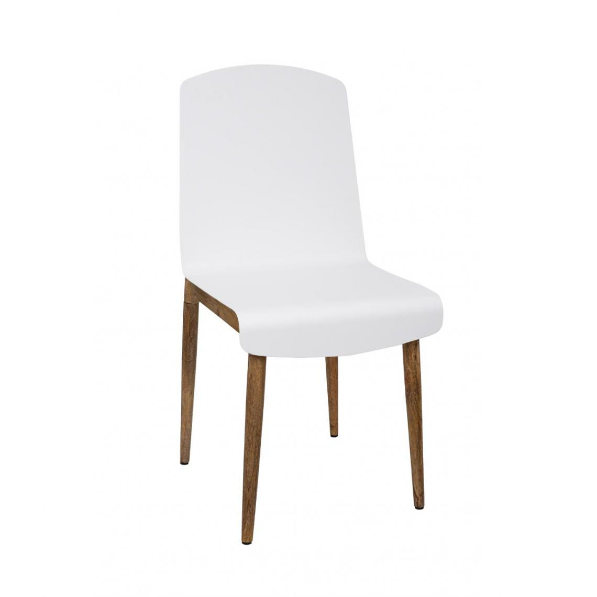 Atmosphera, Createur D'Interie Atmosphera - Chaise de Salle à Manger en Bois de Manguier et Acier Blanc H 87.5 cm