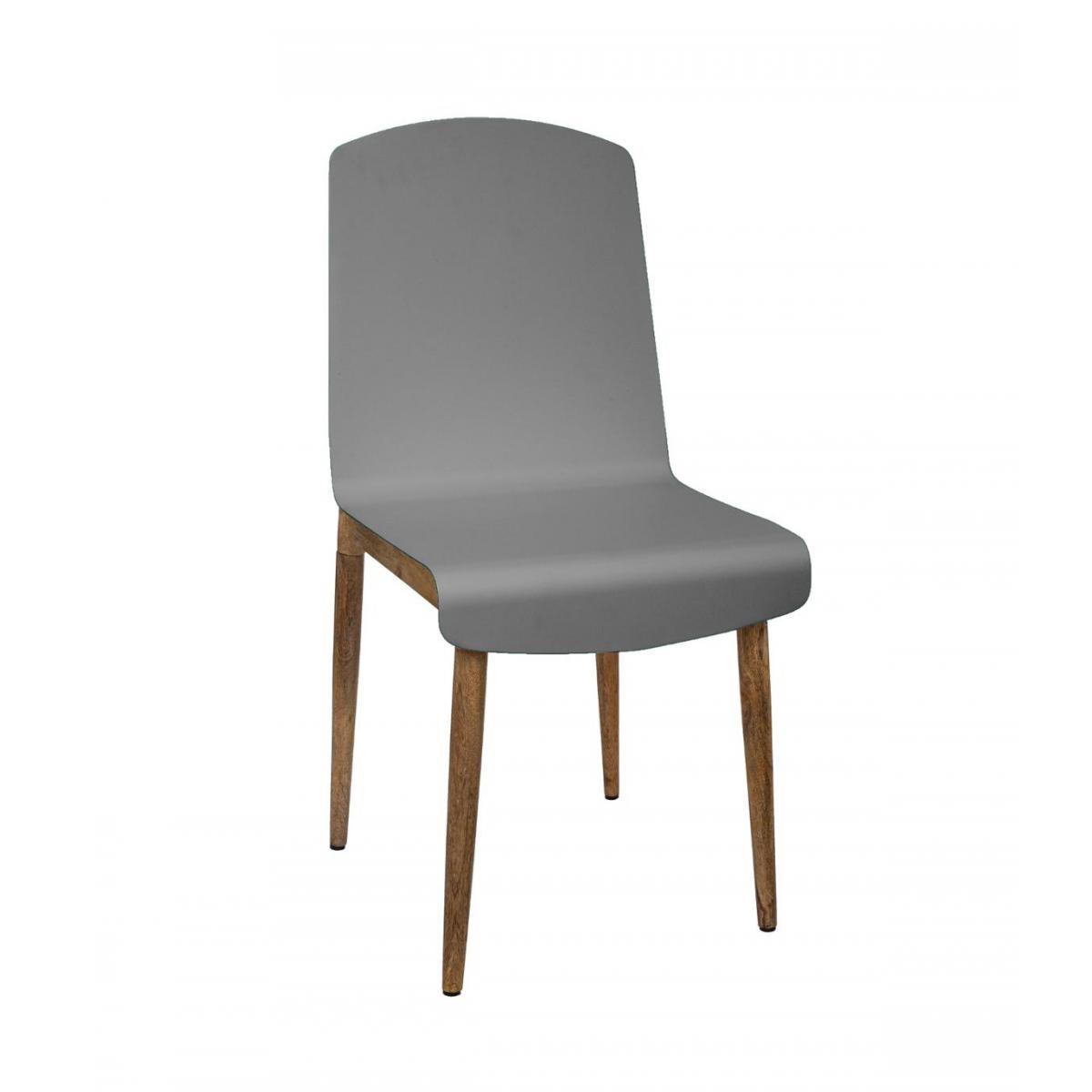 Atmosphera, Createur D'Interie Atmosphera - Chaise de Salle à Manger en Bois de Manguier et Acier Gris H 87.5 cm
