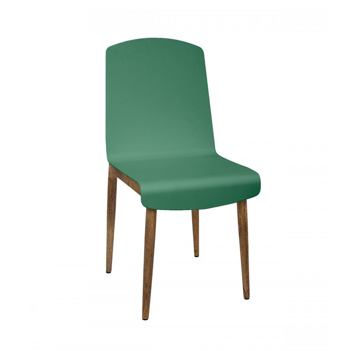 Atmosphera, Createur D'Interie Atmosphera - Chaise de Salle à Manger en Bois de Manguier et Acier Vert H 87.5 cm