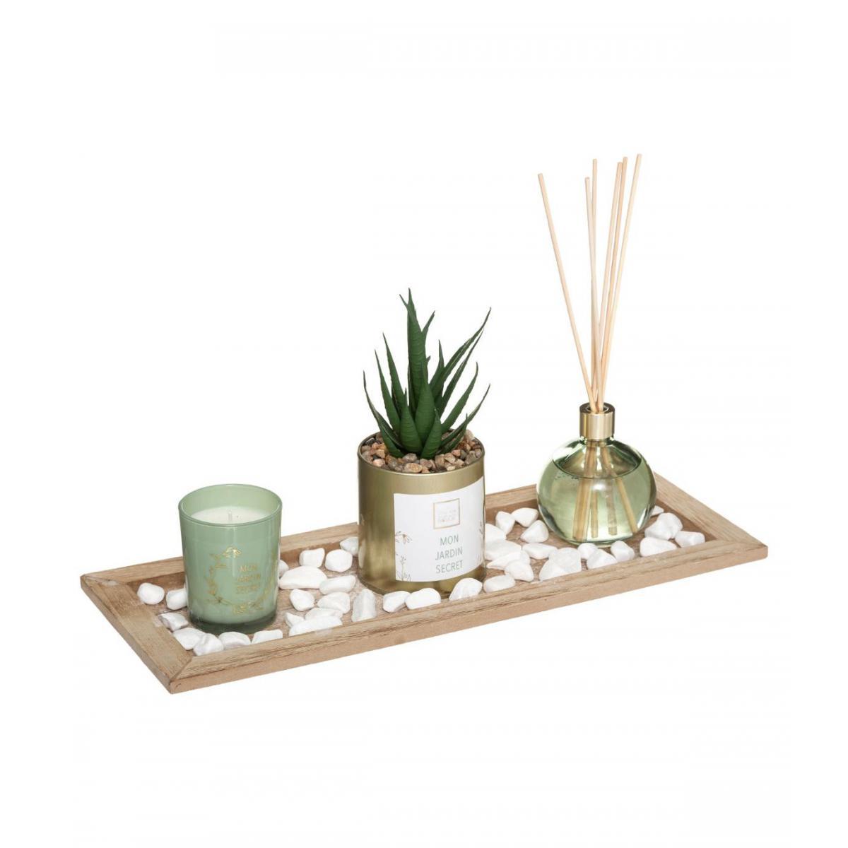 Atmosphera, Createur D'Interie Atmosphera - Coffret Senteur Eucalyptus Plateau, Diffuseur, Bougie, Cactus et accessoires