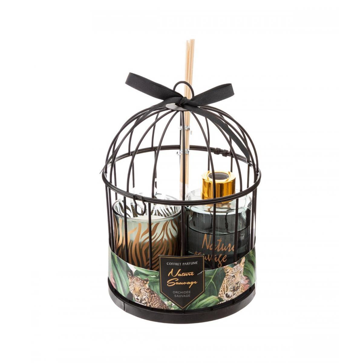 Atmosphera, Createur D'Interie Atmosphera - Coffret Senteur Nature Sauvage Cage en métal , Diffuseur de parfum et Bougie parfumée