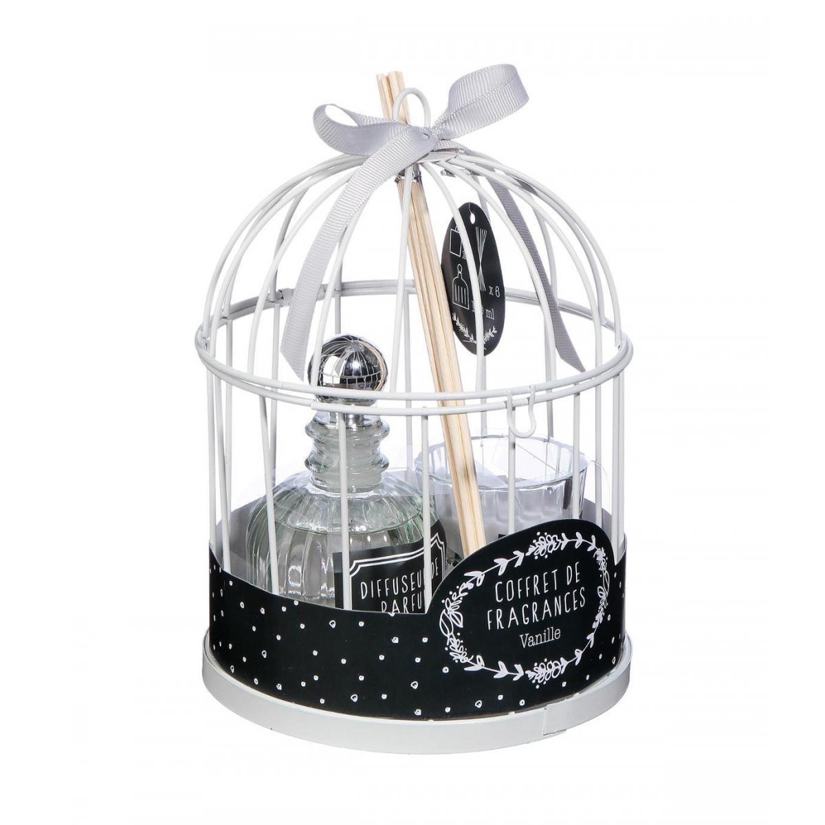 Atmosphera, Createur D'Interie Atmosphera - Coffret Senteur Romance Zen Cage en métal , Diffuseur de parfum et Bougie parfumée
