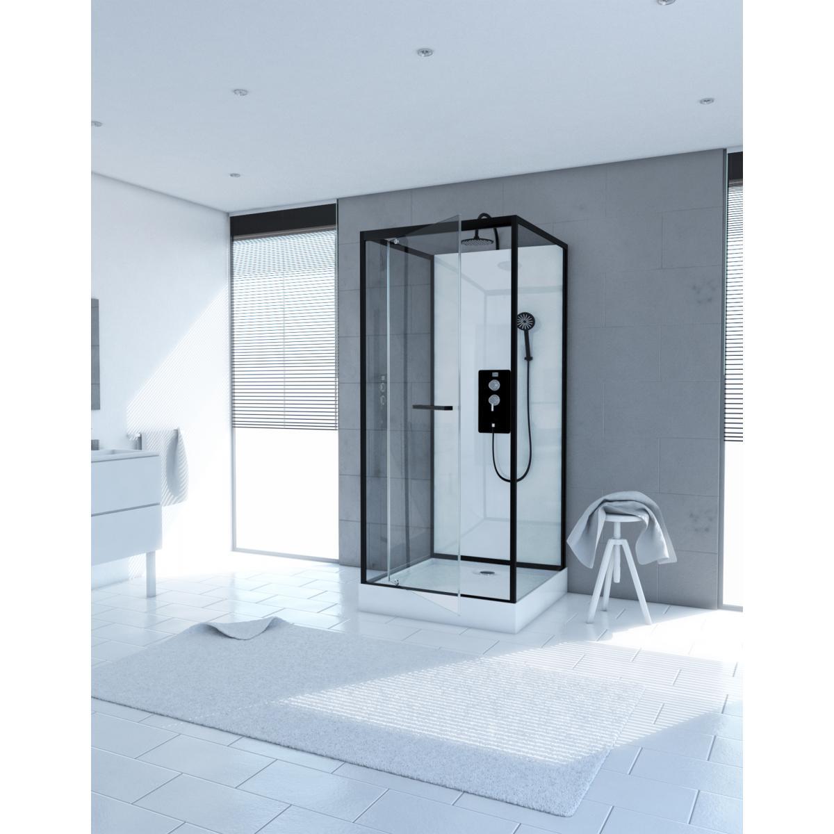 Aurlane Cabine de douche carrée 90x90x230cm - extra blanc et profilé noir mat - LUNAR SQUARE 90