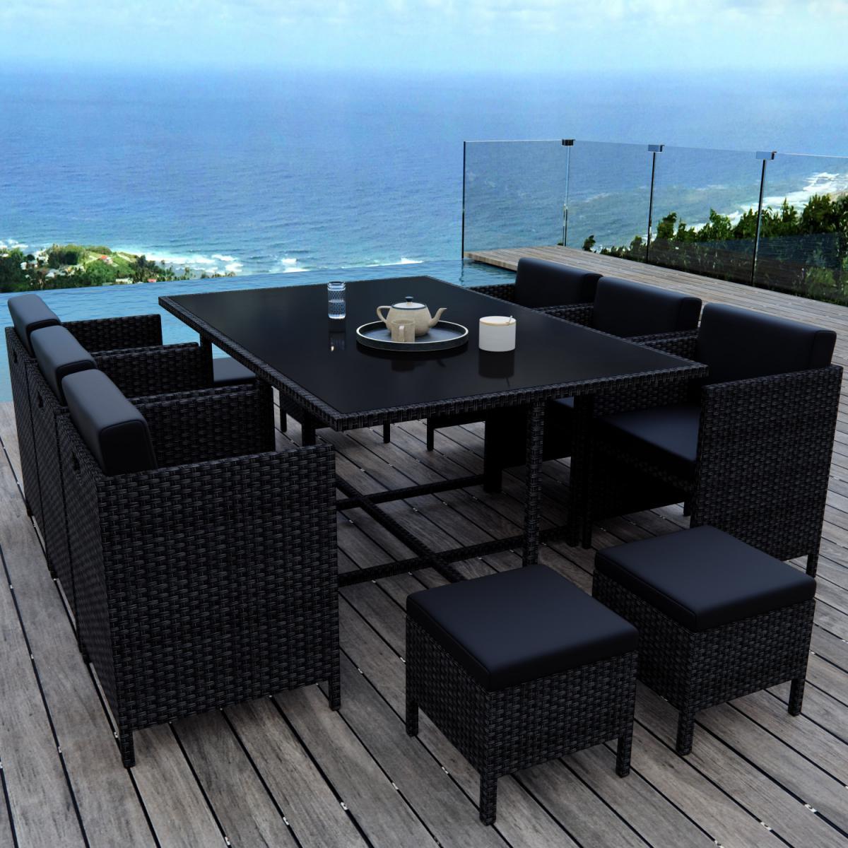Avril Paris MUNGA 10 Places - Ensemble encastrable salon / table de jardin résine tressée - Noir