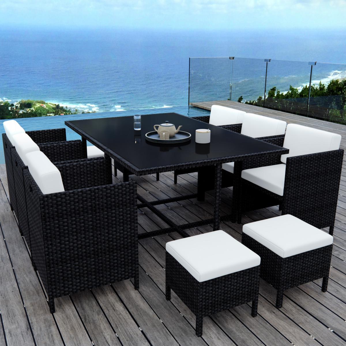 Avril Paris MUNGA 10 Places - Ensemble encastrable salon / table de jardin résine tressée - Noir/Ecru