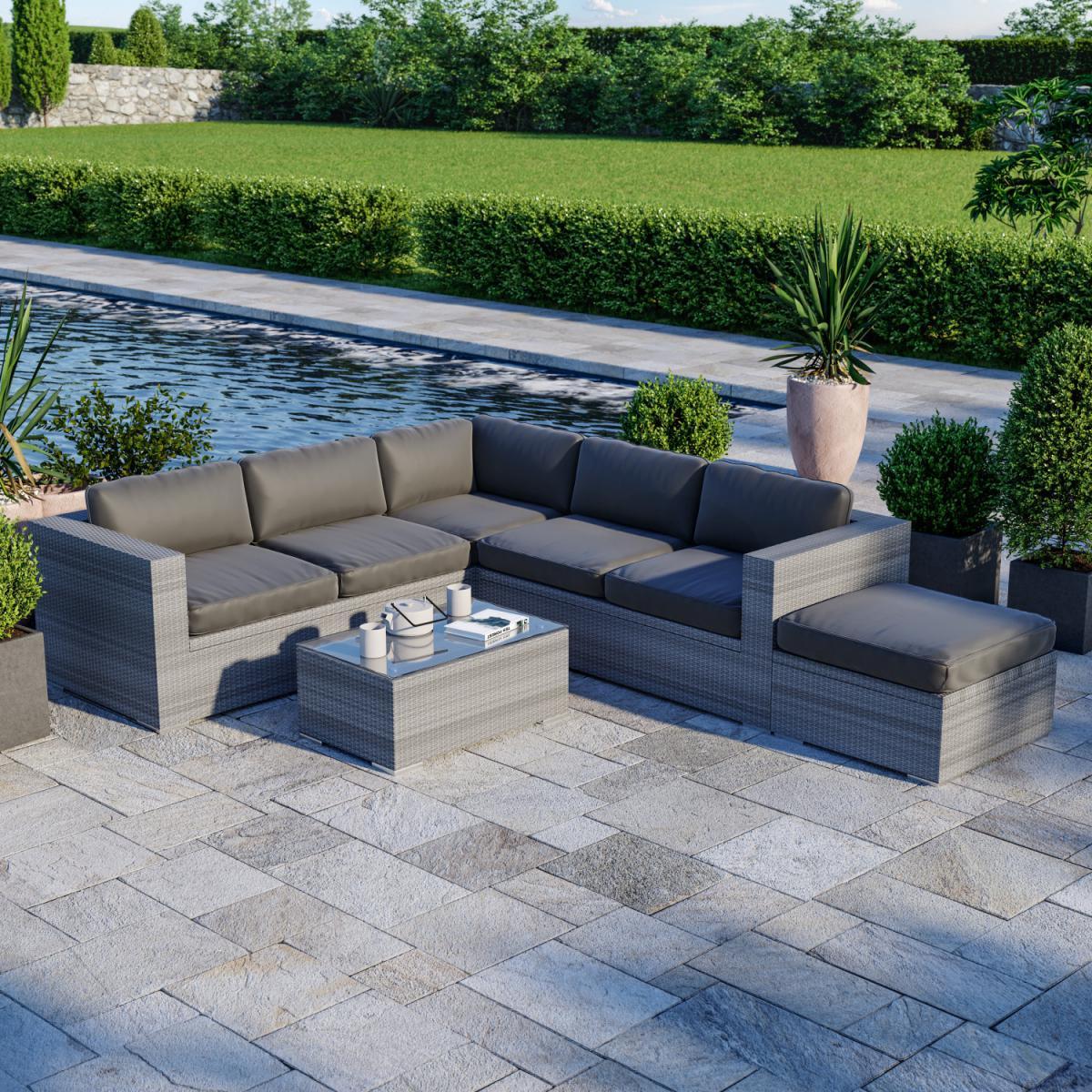 Avril Paris Salon de jardin résine tressée d'angle fonctionnel avec coffre de rangement intégré - gris - FARENZA