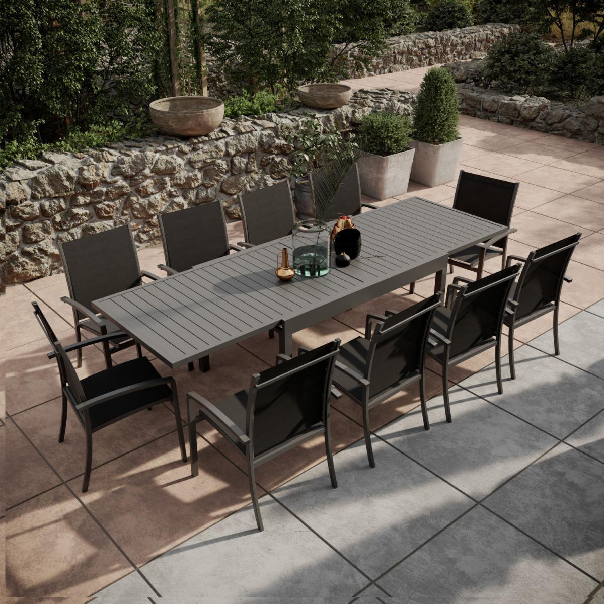 Avril Paris Table de jardin extensible aluminium 135/270cm + 10 Fauteuils empilables textilène Gris Anthracite - ANDRA