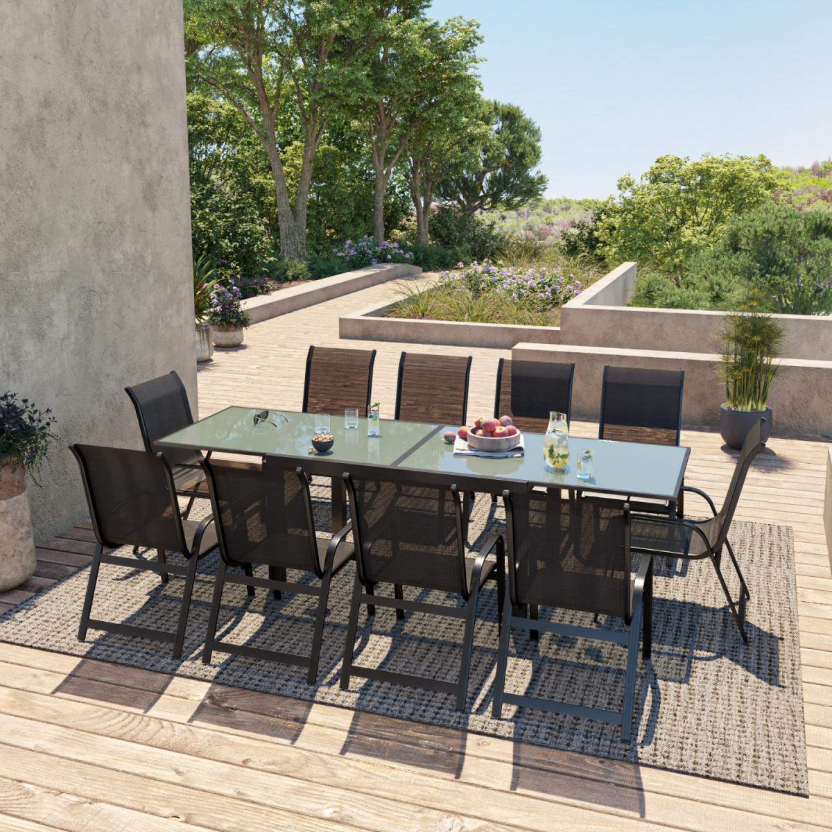 Avril Paris Table de jardin extensible aluminium 140/280cm + 10 fauteuils empilables textilène Noir - FARO