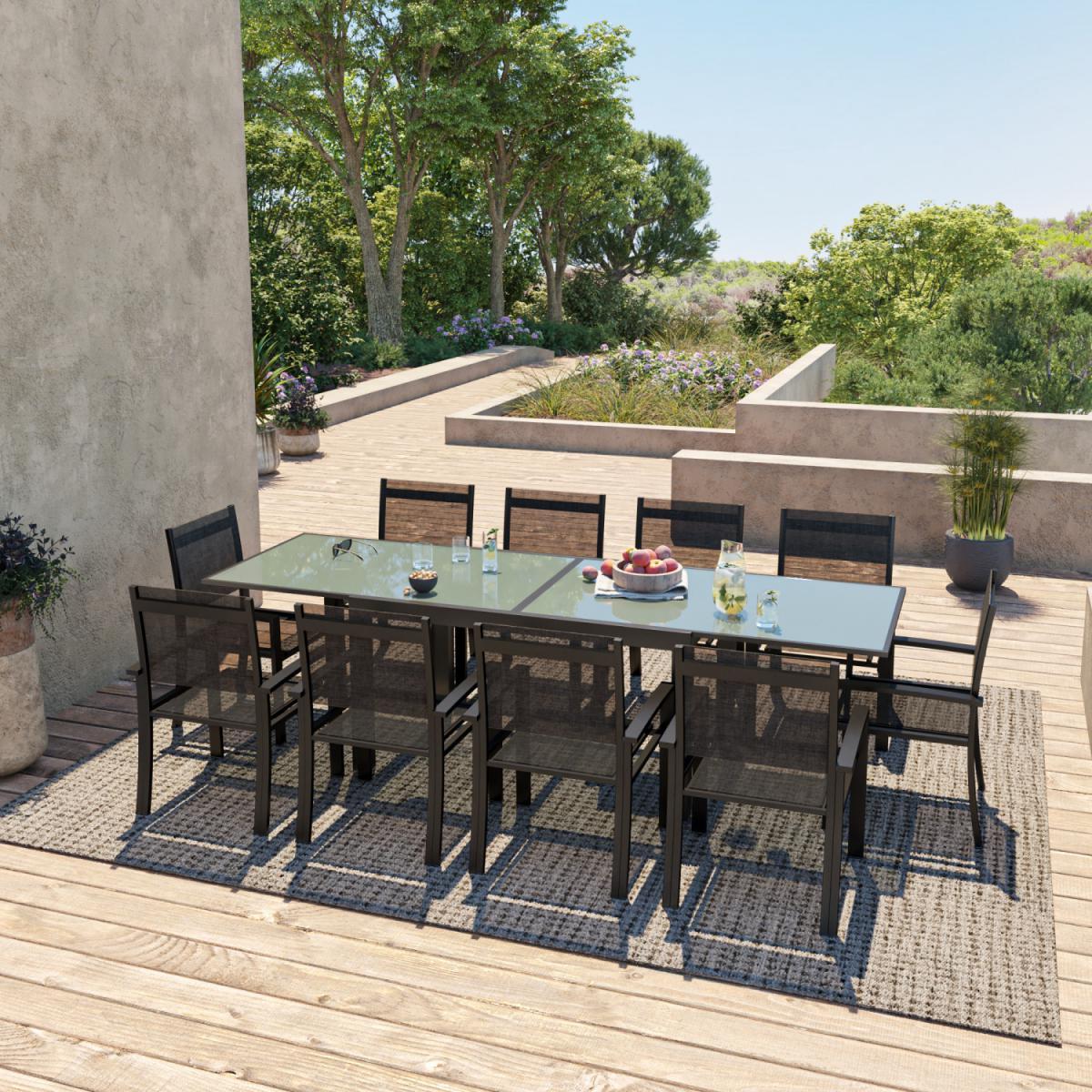 Avril Paris Table de jardin extensible aluminium 140/280cm + 10 fauteuils textilène Noir - HARA XL