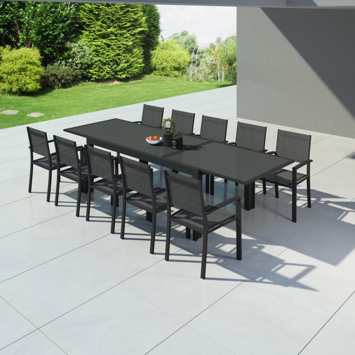 Avril Paris Table de jardin extensible aluminium 200/320cm + 10 fauteuils textilène Noir - HARA XXL