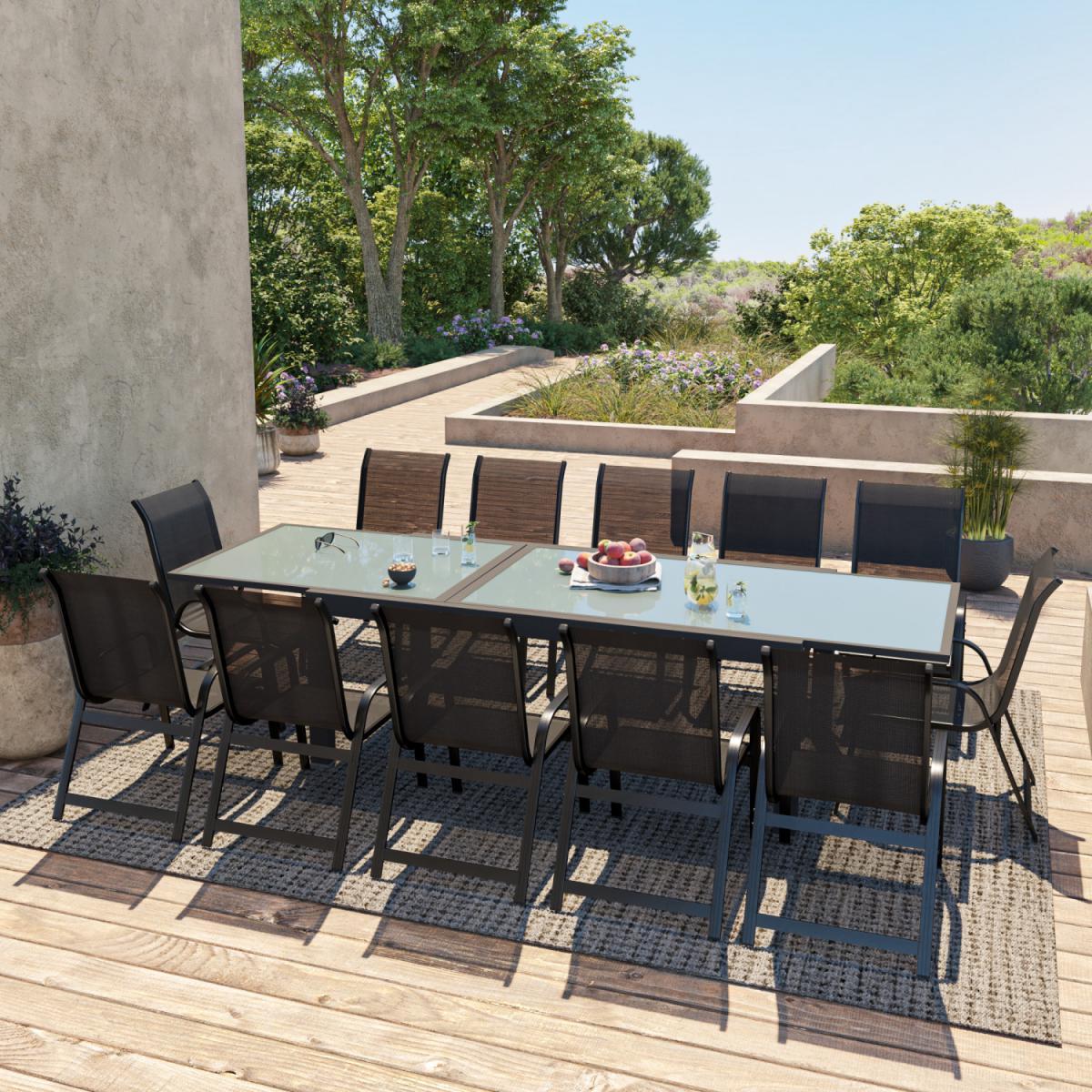 Avril Paris Table de jardin extensible aluminium 200/320cm + 12 fauteuils empilables textilène Noir - FARO 12
