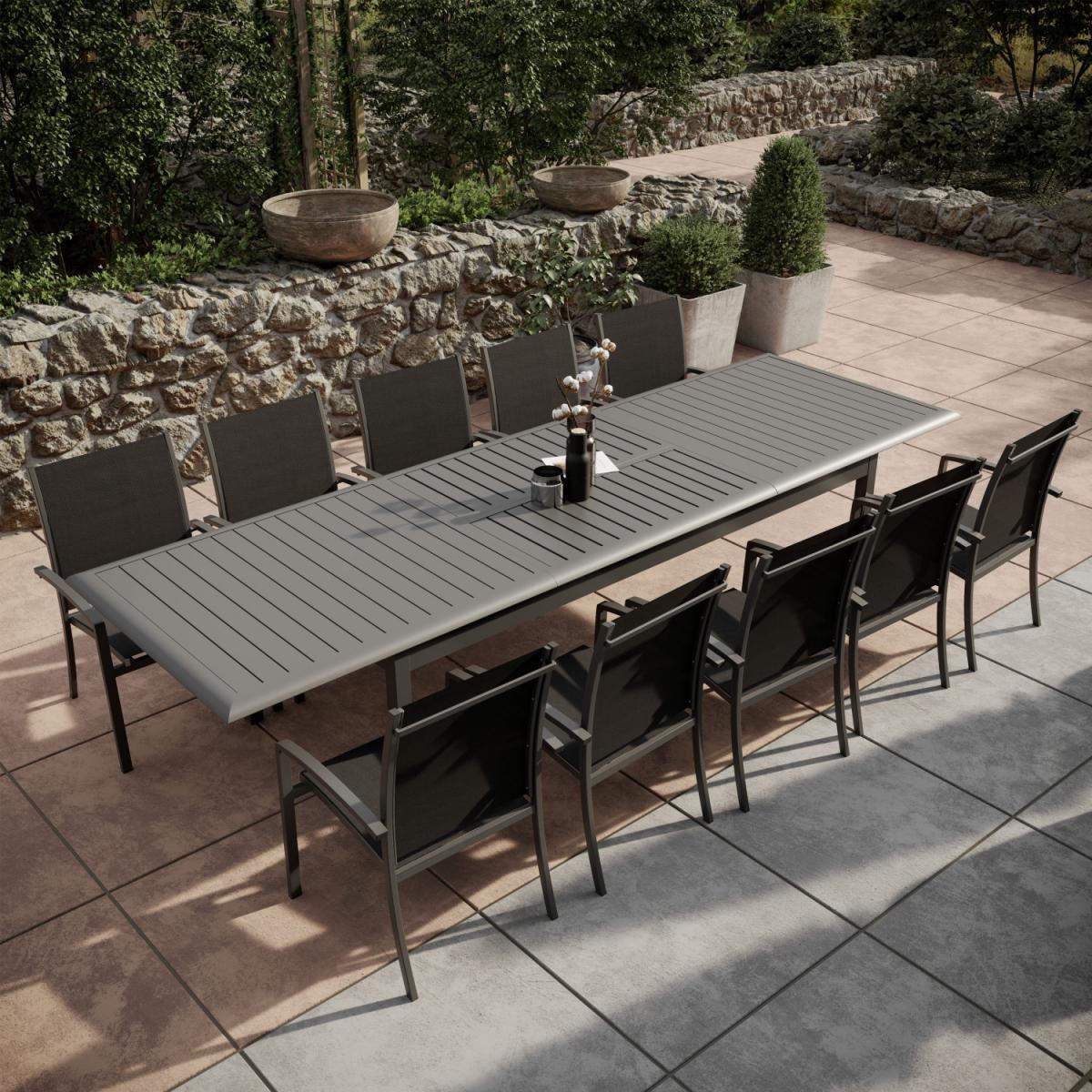 Avril Paris Table de jardin extensible aluminium 220/320cm + 10 Fauteuils empilables textilène Gris Anthracite - ANDRA XL