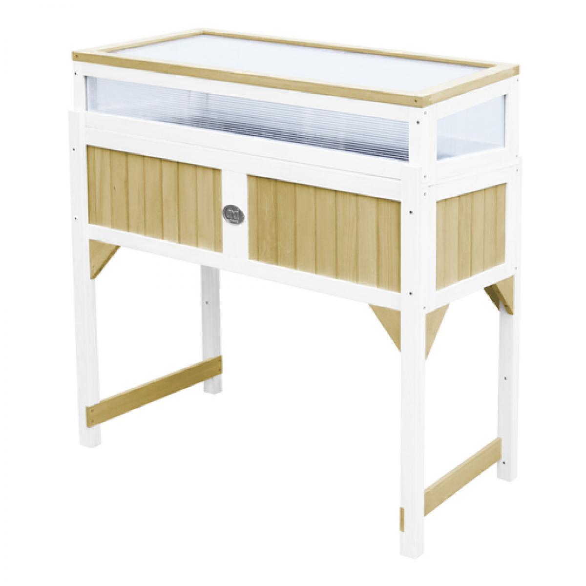 Axi House AXI Table de jardinage interieur et exterieur Polycarbonate Bois Marron Blanc