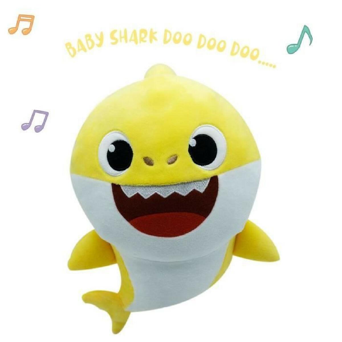 Banaline Baby Shark - Peluche sonore Baby Shark 30 cm - peluche musicale - bébé requin - jaune