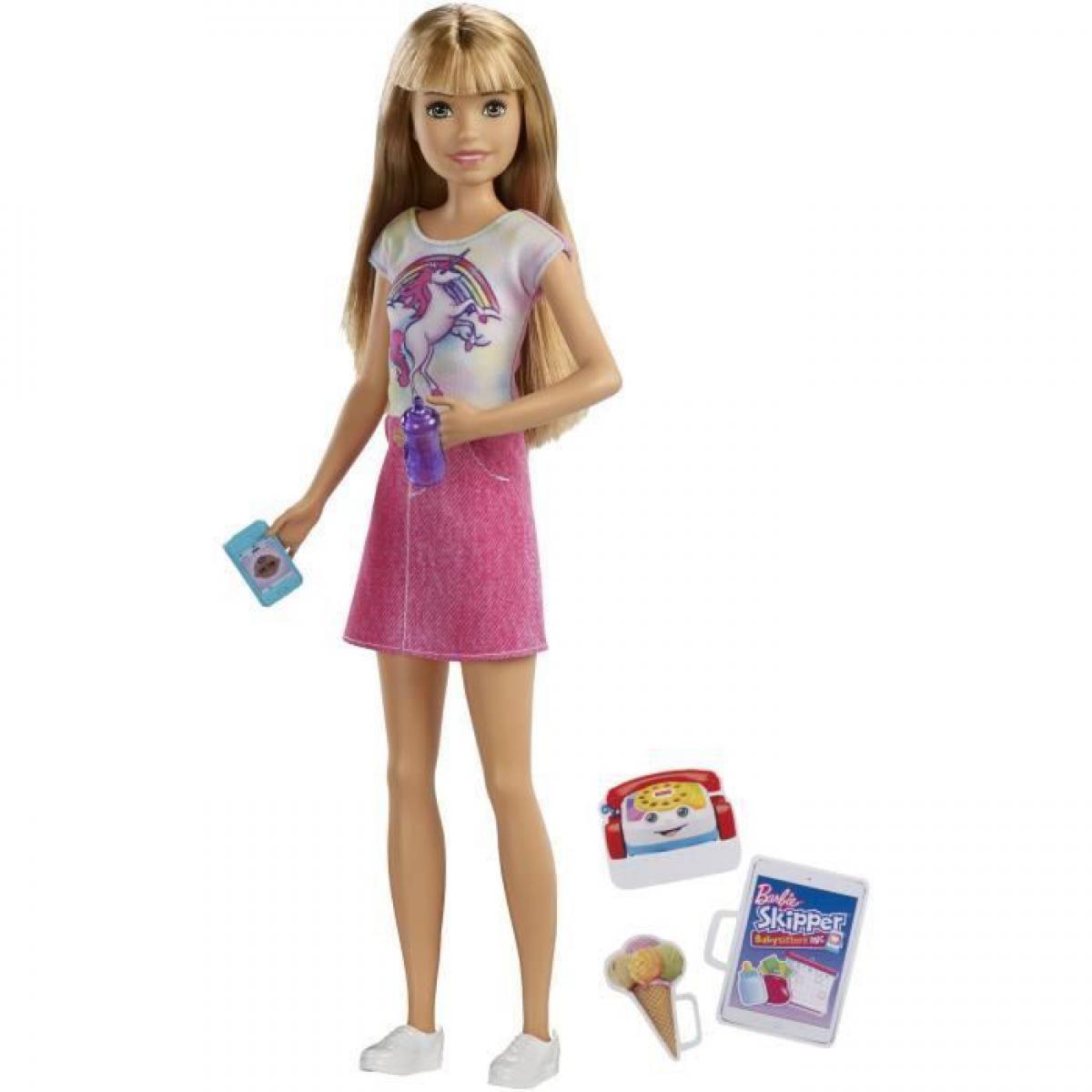 Barbie BARBIE - Babysitter Blonde - Coffret Poupee Mannequin - Poupee Baby-sitter avec accessoires