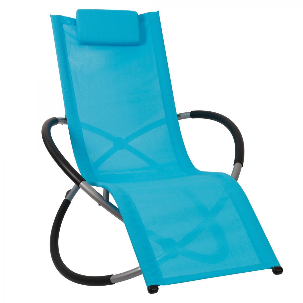 Bcelec HMBL-04-BLUE Chaise longue bleu, relax de jardin, chaise de jardin, rocking chair, résistant aux intempéries, max 180kg
