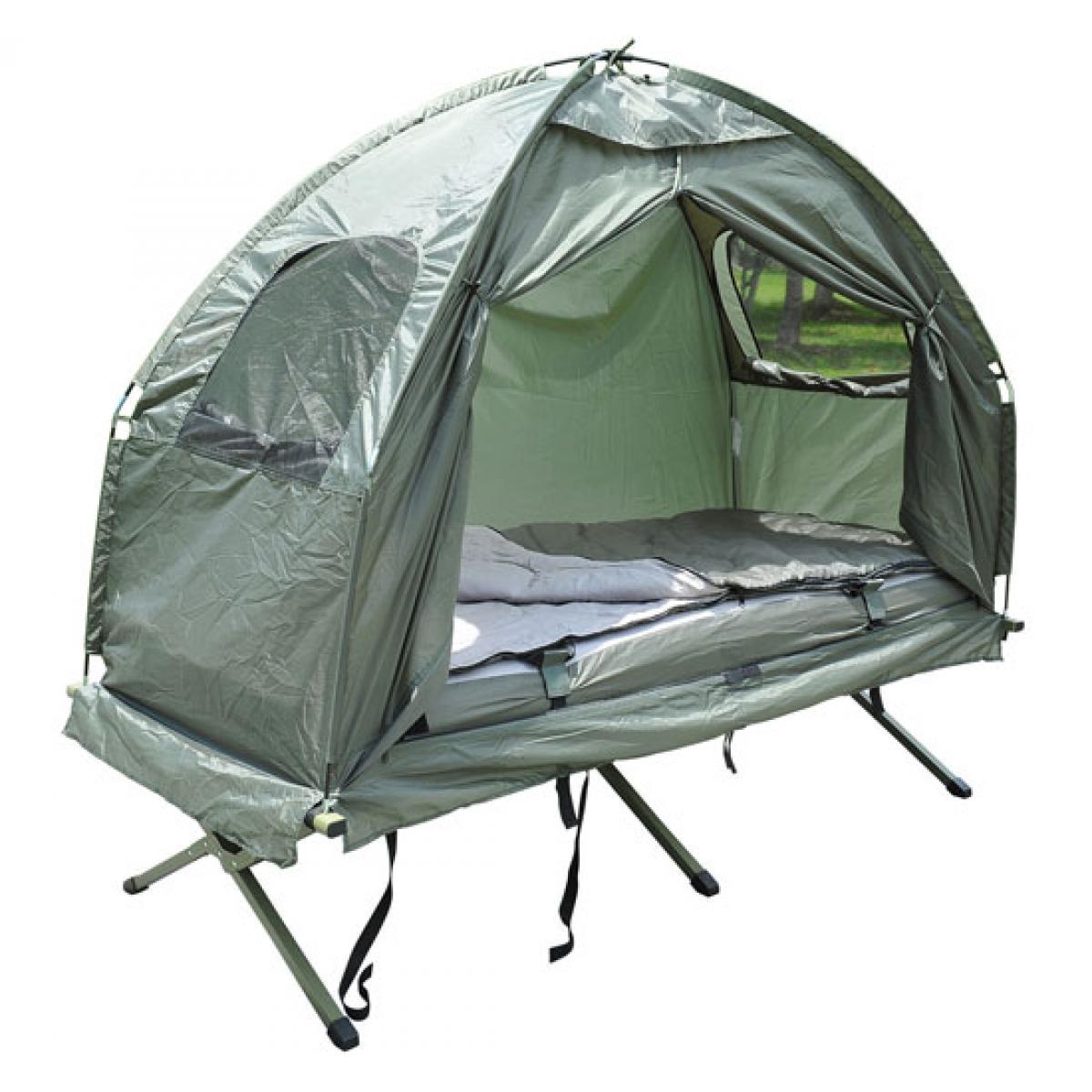 Bcelec Lit de camp avec tente, sac de couchage et matelas gonflable
