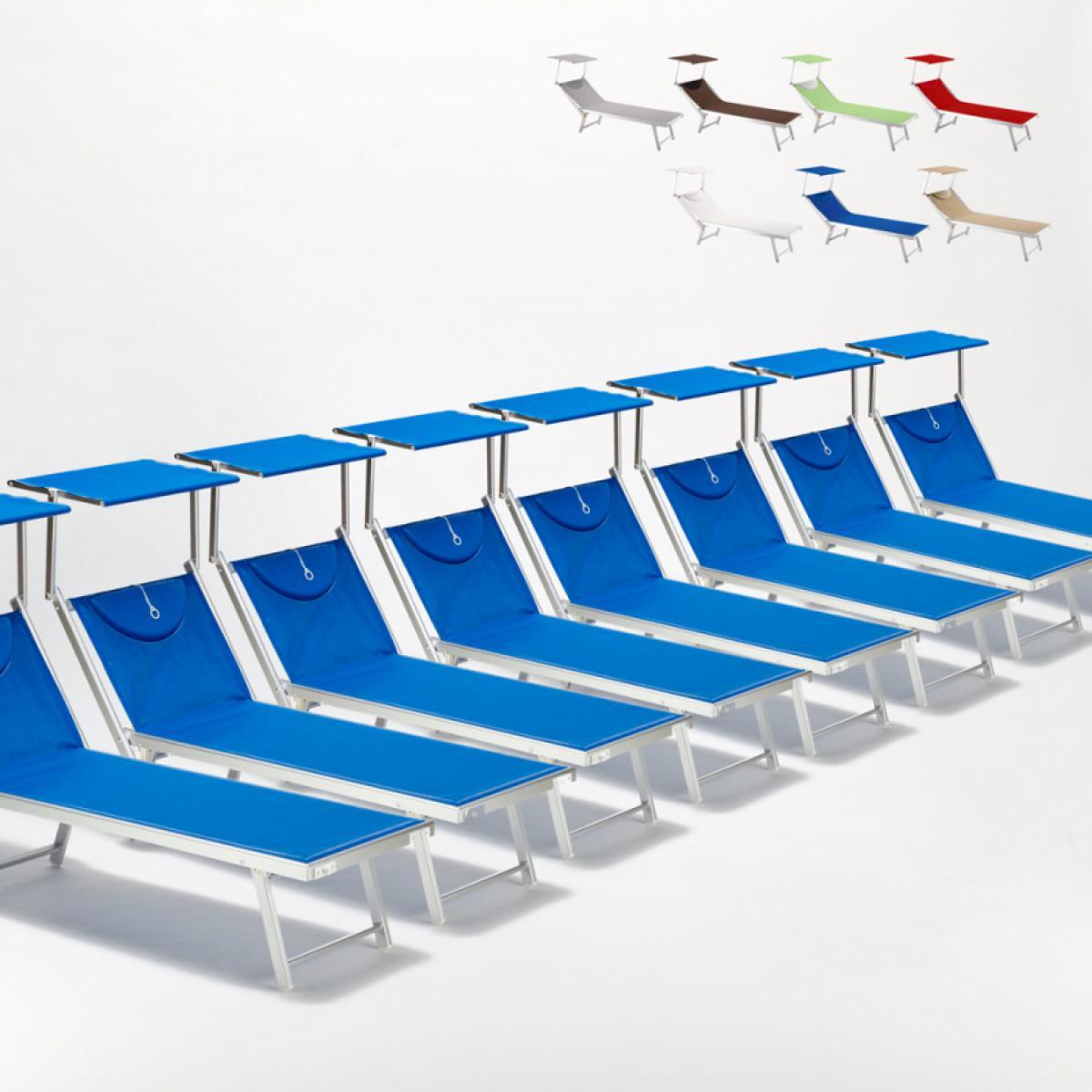 Beach And Garden Design Bain de soleil chaises longue transats Lits de plage piscine aluminium jardin Santorini 20 pcs, Couleur: Bleu