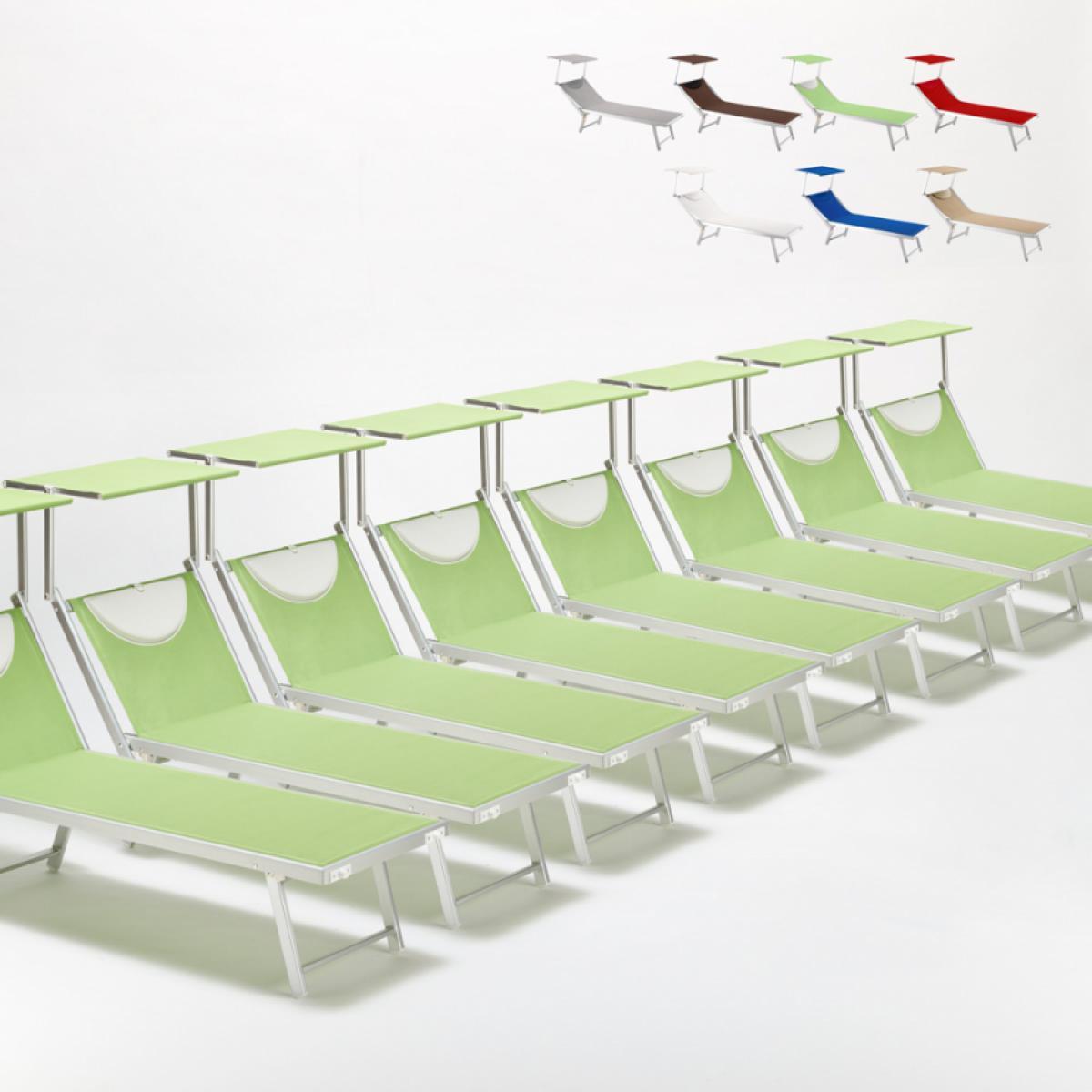 Beach And Garden Design Bain de soleil chaises longue transats Lits de plage piscine aluminium jardin Santorini 20 pcs, Couleur: Vert