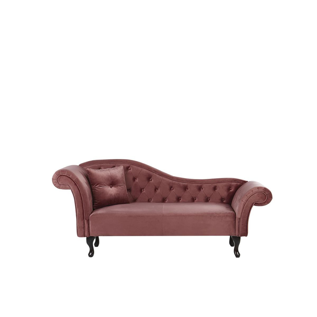 Beliani Beliani Chaise longue côté gauche en velours rose LATTES - gris