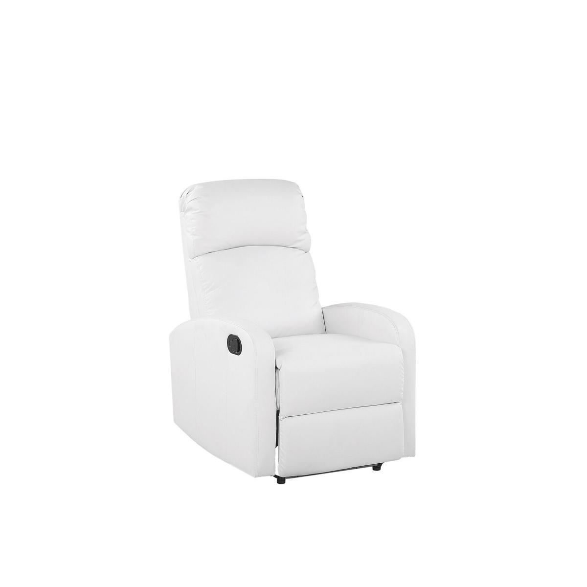 Beliani Beliani Fauteuil de relaxation en simili-cuir blanc avec LEDs et port USB VIRRAT -