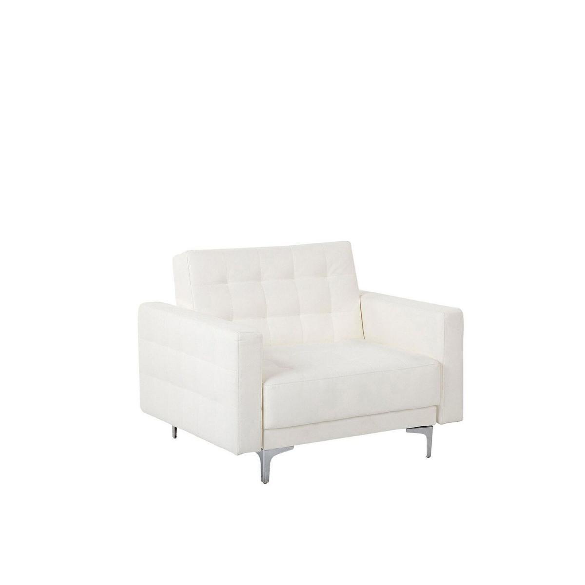 Beliani Beliani Fauteuil en simili-cuir blanc ABERDEEN II - blanc