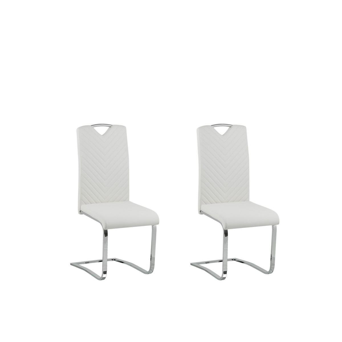 Beliani Beliani Lot de 2 chaises de salle à manger en simili-cuir blanc-cassé PICKNES -