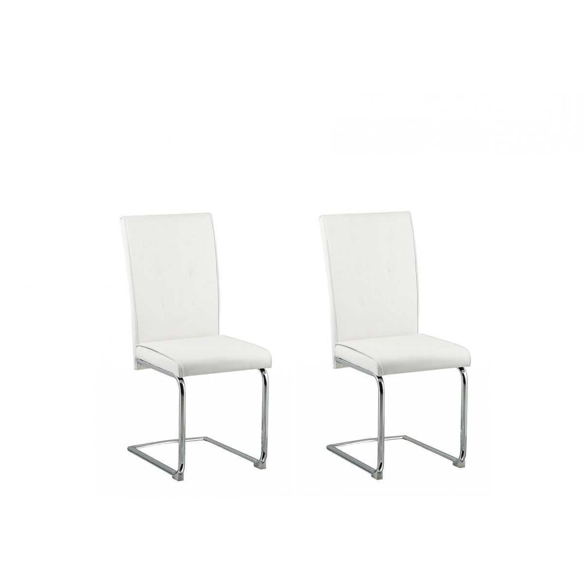 Beliani Beliani Lot de 2 chaises de salle à manger en simili-cuir blanc cassé ROVARD -
