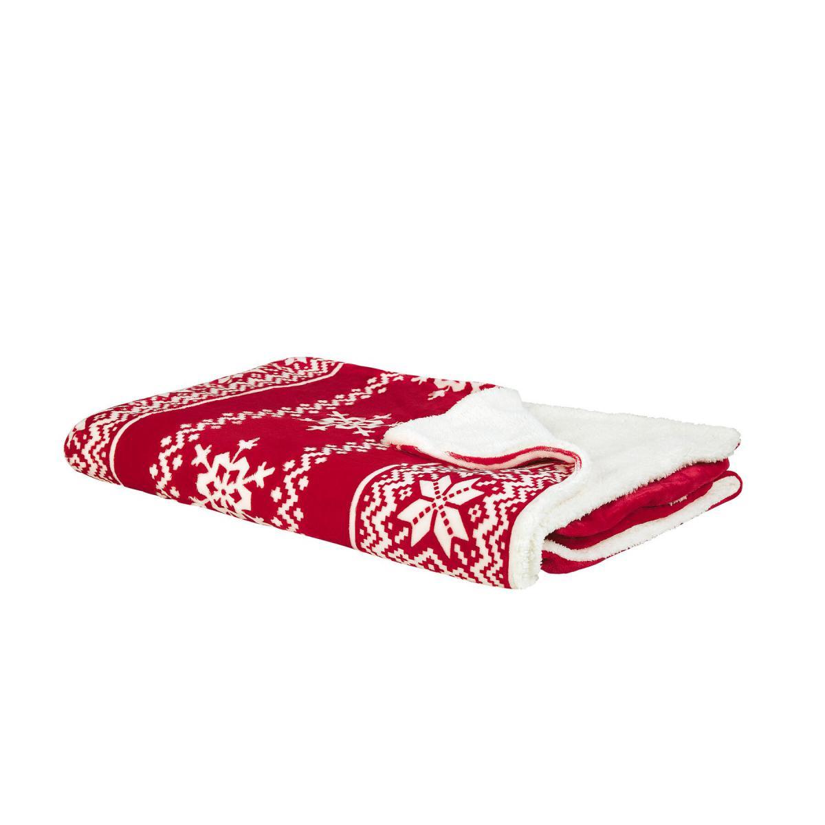 Beliani Beliani Plaid réversible rouge et blanc 200 x 220 cm motif Noël VANTAA - beige