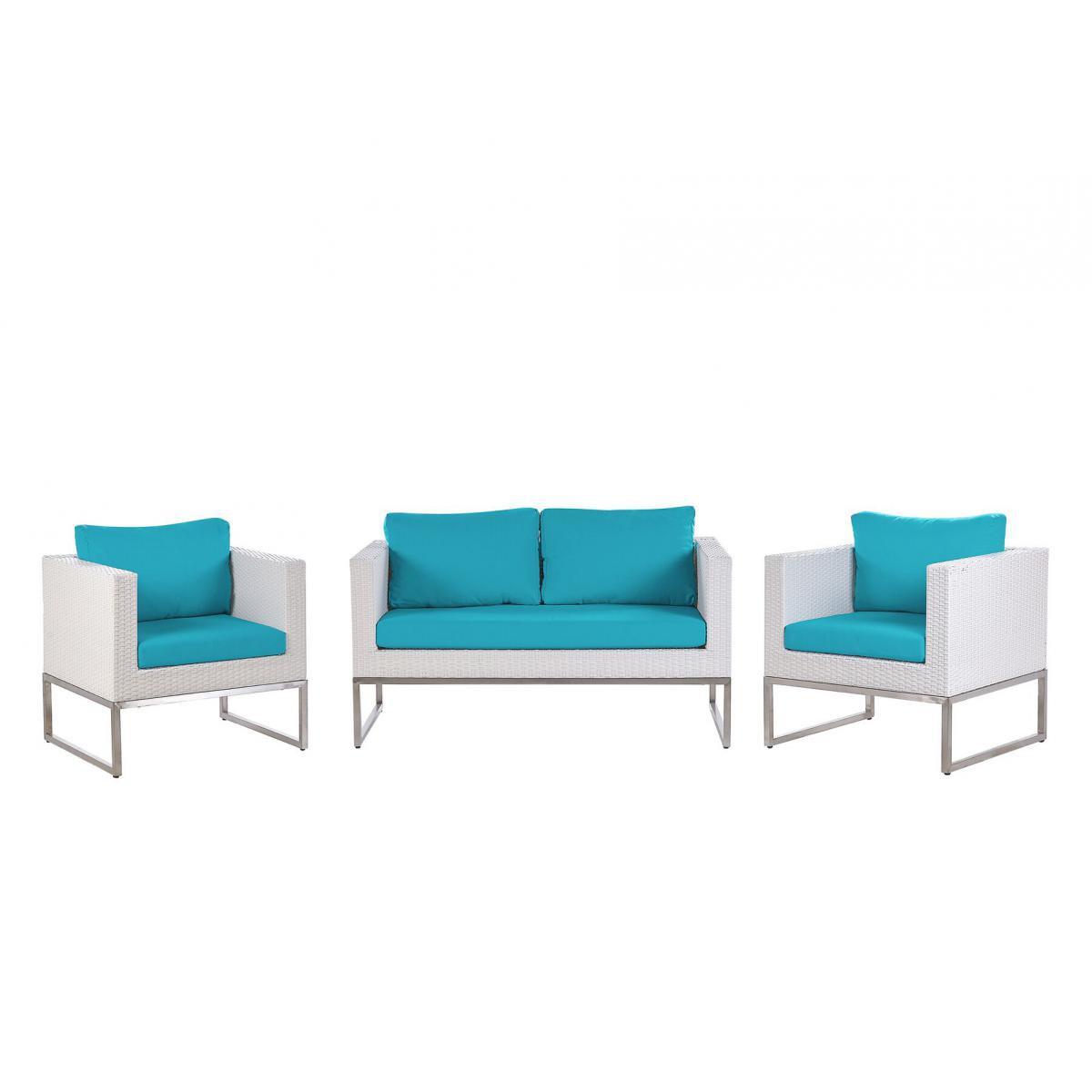 Beliani Beliani Salon de jardin 4 places en rotin blanc avec coussins bleus CREMA - marron