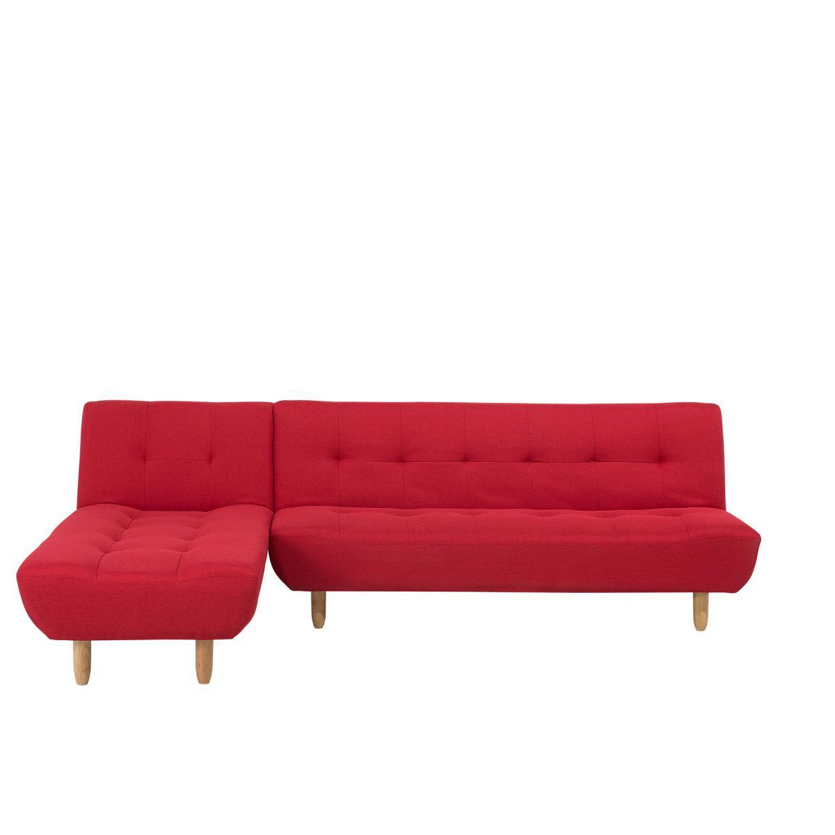 Beliani Canapé angle à droite convertible en tissu rouge 4 places ALSTEN - rouge