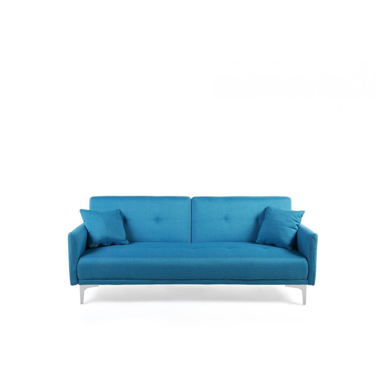 Beliani Canapé convertible 3 places en tissu bleu LUCAN - bleu marine