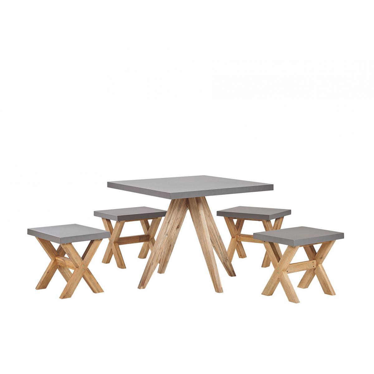 Beliani Set de jardin table carrée et 4 tabourets en fibre-ciment gris et bois OLBIA