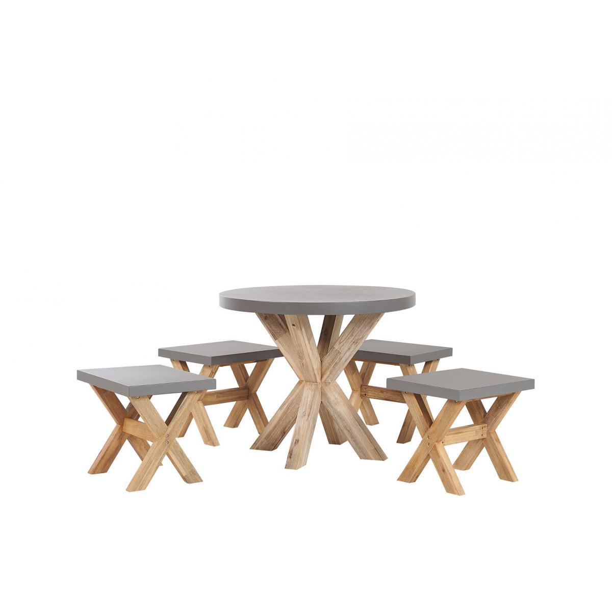 Beliani Set de jardin table ronde et 4 tabourets en fibre-ciment gris et bois OLBIA