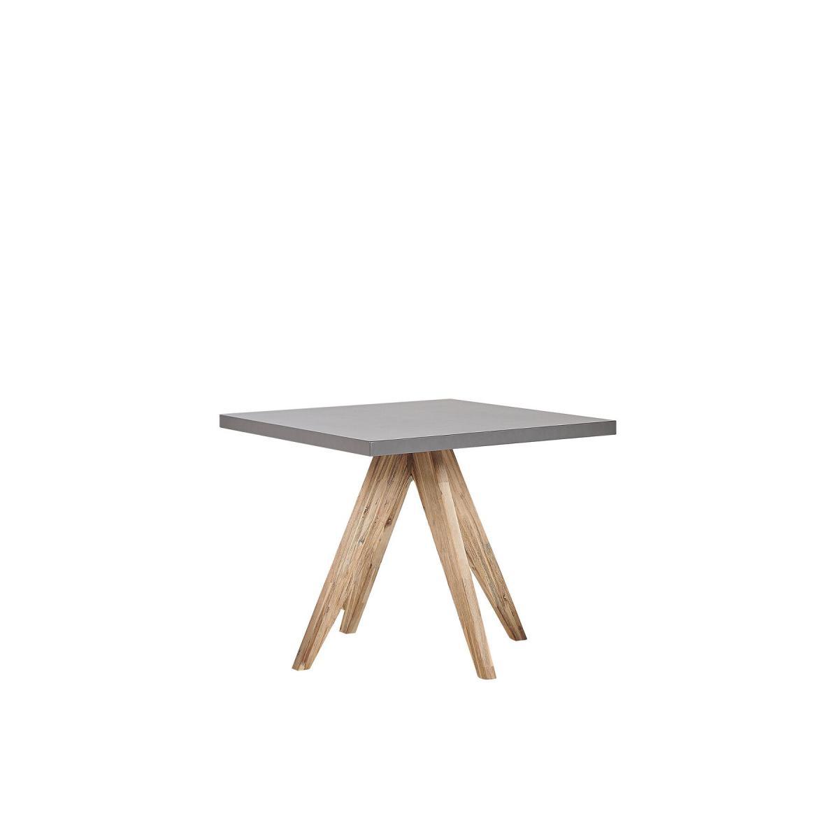 Beliani Table de jardin en fibre-ciment gris et bois 90 x 90 cm OLBIA