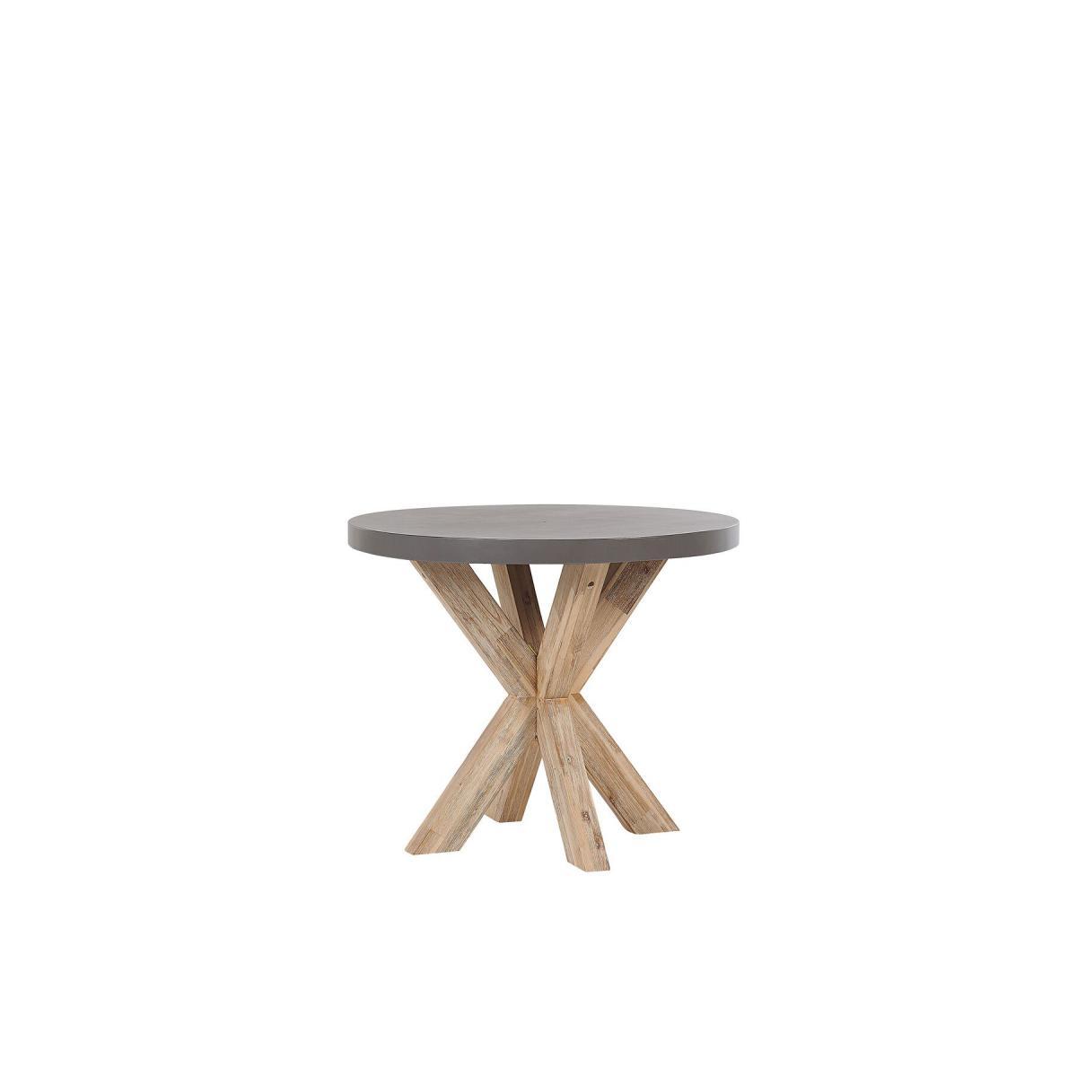 Beliani Table de jardin ronde en fibre-ciment gris et bois ø 90 cm OLBIA