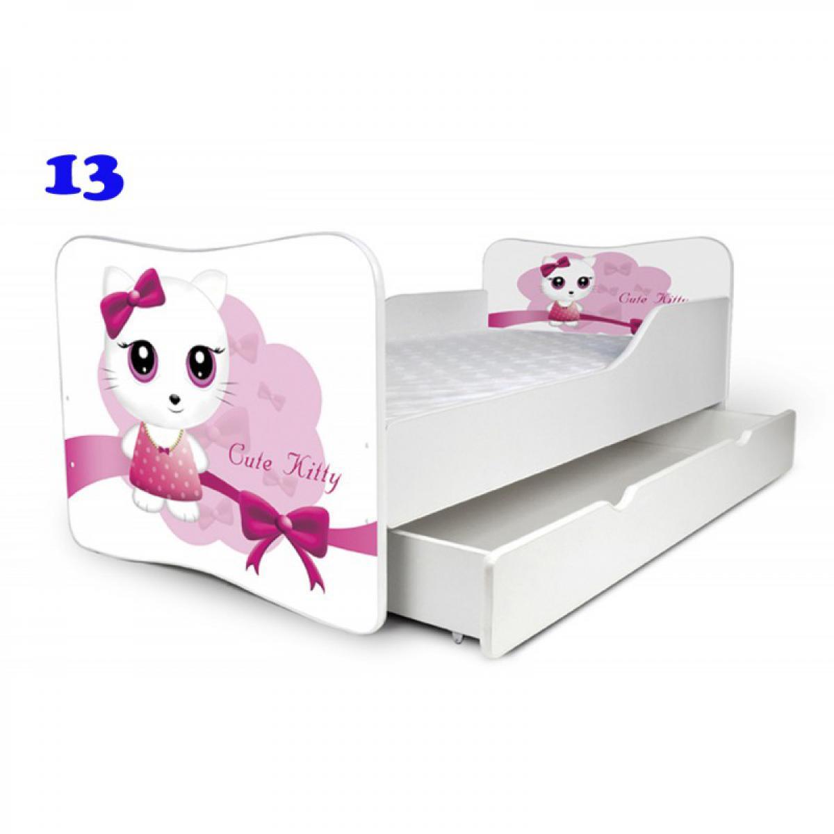Bim Furniture Lit Enfant 140x70 cm avec Tiroir Cute Kitty Blanc avec sommier et matelas