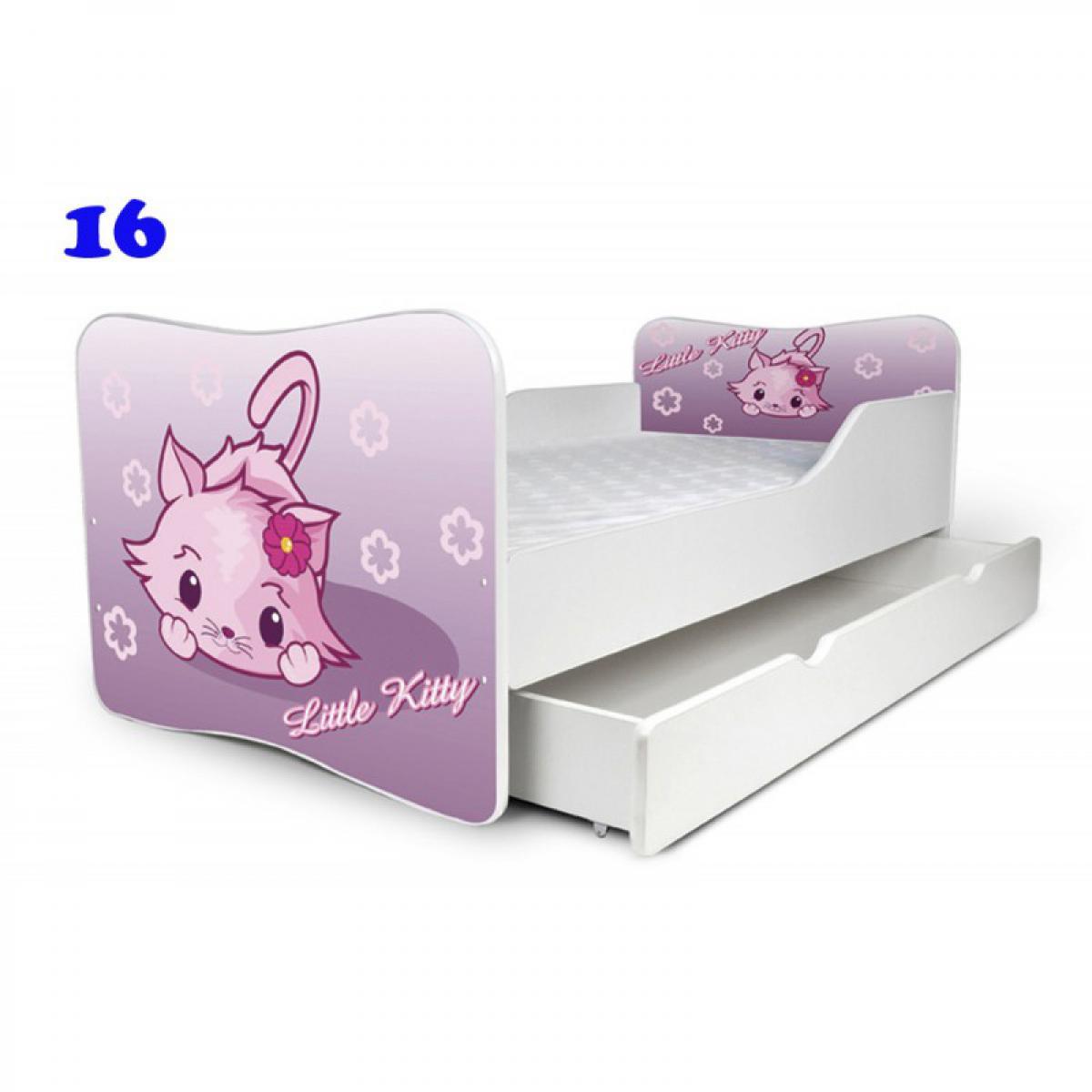 Bim Furniture Lit Enfant 140x70 cm avec Tiroir Little Kitty avec sommier et matelas