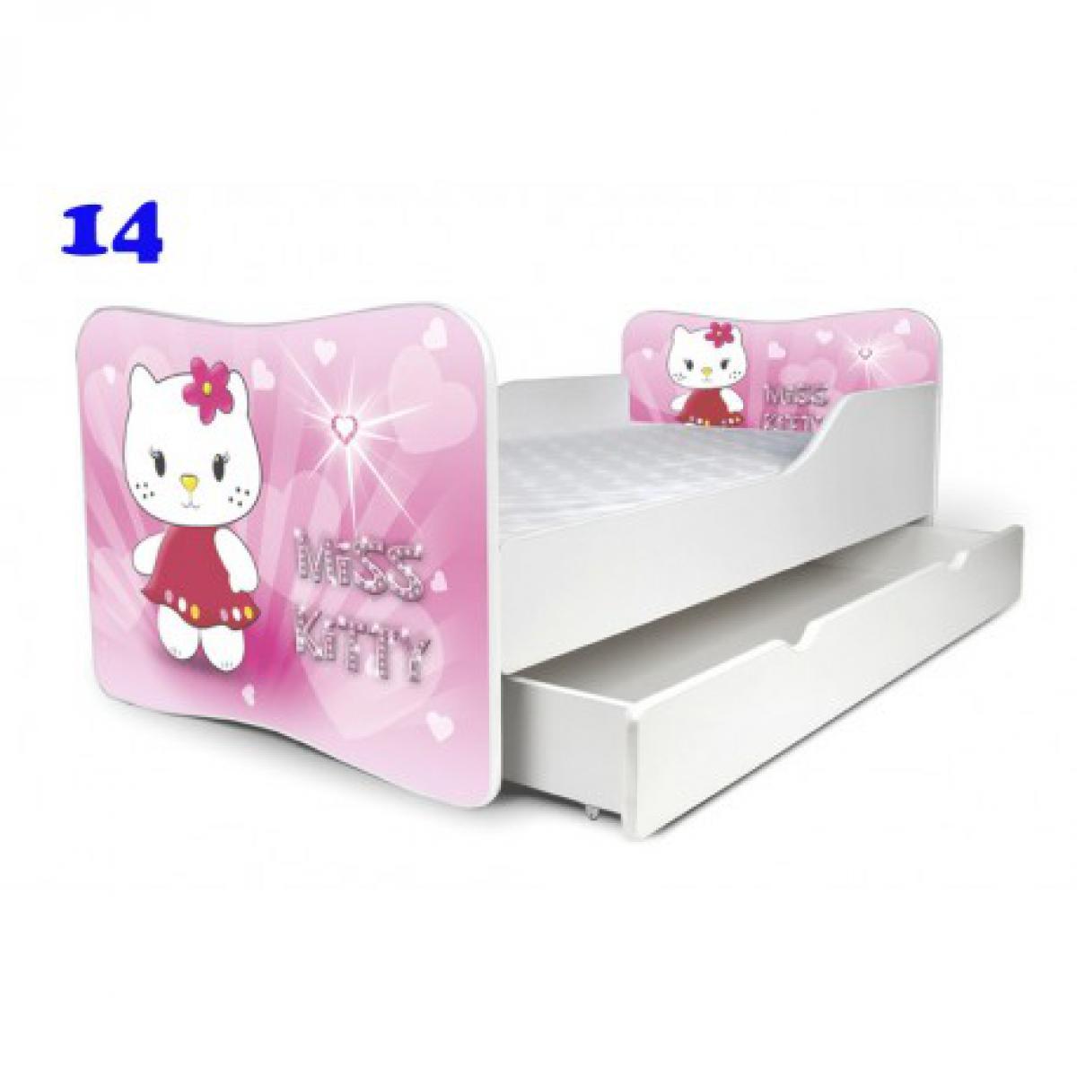 Bim Furniture Lit Enfant 140x70 cm avec Tiroir Miss Kitty Rose avec sommier et matelas